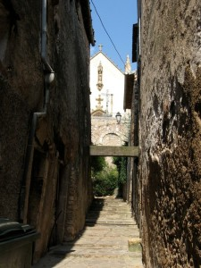 Narrow medieval streets in Aups Provence
