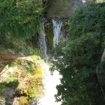 Waterfall in middle of Medieval town Provence